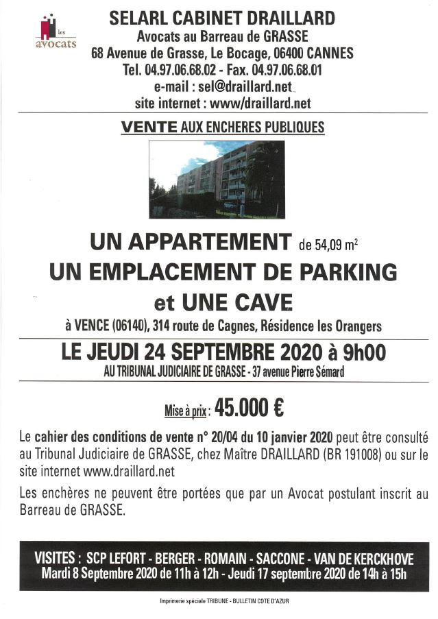 appart cave parking vence